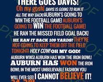 Auburn vs Alabama Radio Call State Outline - Blue Background