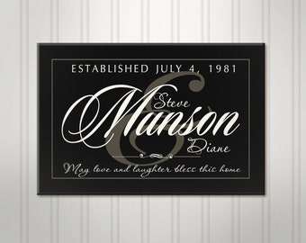 """Large Family Name Sign, Black or Ivory Ampersand, Personalized Wedding Sign, Custom Last Name Sign, 18"""" x 24"""""""