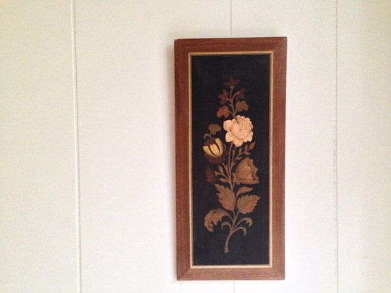 Wood Inlay Wall Decor : Wooden inlay wall hanging floral wood art by