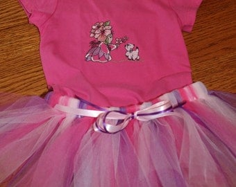 Tutu with Embroidered Onesie Flower Girl with Kitten outfit. Baby girl size 12 months