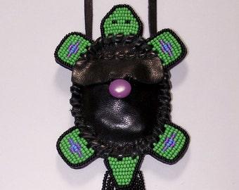 Authentic Native American Handmade Beaded Leather Turtle Medicine Bag