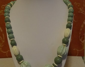 Green Bead Necklace - Varying Shades of Green