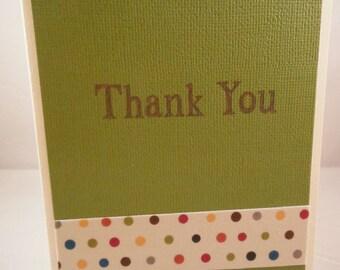 Thank you card, green thank you card, dot thank you card
