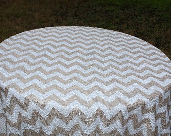 Chevron Sequin Tablecloth, Taupe, Champagne And White Sequins, Cake