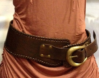 Steam Punk Buckle Belt Brown Leather for Womens Fashion Gift