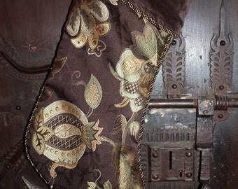 Faux Silk Brocade Stocking - Navidad