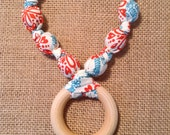 Red, White and Blue ORGANIC COTTON Teething and Nursing Necklace with a Natural Teething RING