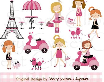 Paris poodle fashion girl clipart digital illustration