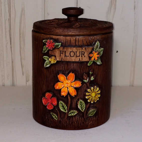 vintage flour canister 70s ceramic wood ilke finish with
