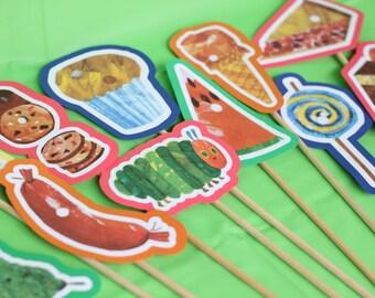 Very Hungry Caterpillar birthday party, Very Hungry Caterpillar centerpiece sticks, READY-MADE set of 11