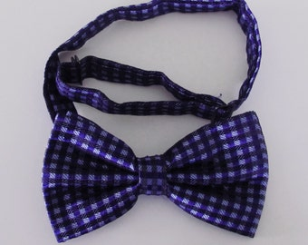 Mens Bow Tie Navy Blue With Light Blue Checkers Banded Pre Tied Bow Tie