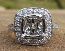 Solid 14K White Gold Cushion Cut 7MM Fashion Semi Mount Ring / Diamond Ring