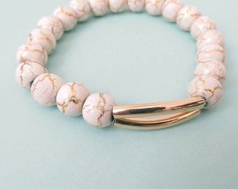 14 Karat Gold and Ceramic Bead Bracelet