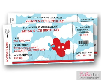 Airplane Boarding Pass Ticket Invitation PRINTABLE   Aeroplane Plane Boy  Birthday Party   Blue Red Orange  Plane Ticket Invitation Template