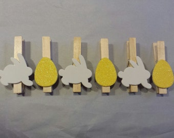Easter clothespins- glitter eggs and bunnies set of 6