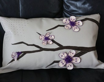 Leather cushion flower skull