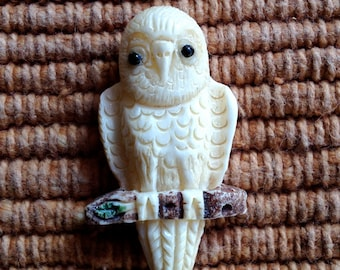 Cute Carved Bone Owl Bead - 1 1/2 Inches - 39 mm