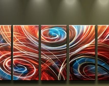 Metal Wall Art Abstract Modern Contemporary Large Sculpture 5 Panels Red Flames