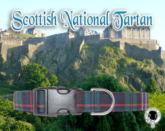 Scottish National Tartan Dog Collar,,, Authentic Scottish National Tartan