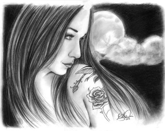 Surrender to the Moon: charcoal drawing