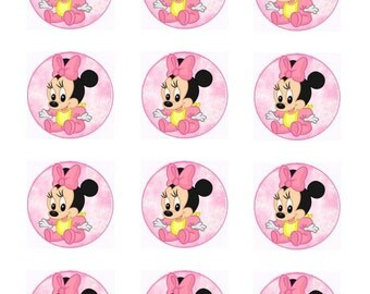 Baby Minnie Mouse Cupcake Toppers Baby Shower Cupcake toppers 1st Birthday