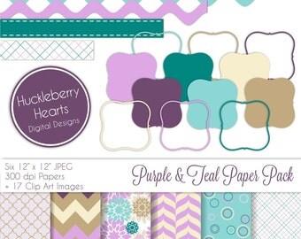 Purple and Teal Digital Paper and Digital Photo Frames, Digital Scrapbook Paper, Digital Background, Labels