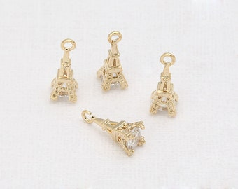 Cubic Eiffel Tower Pendant Polished Gold -Plated- 2 Pieces<TT0035-PG>