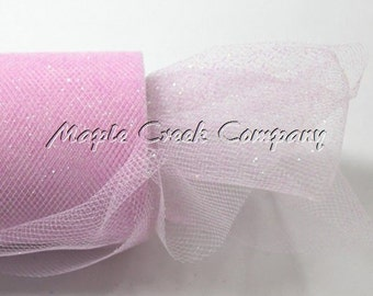 PINK Glitter Tulle Roll 6in x 30ft - Sparkling Tulle (10 yards)