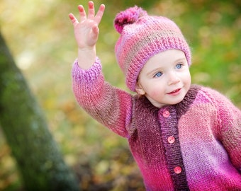 Pink woolen girl cardigan hand knitted EU size 98; 2-2,5 years old chunky sweater rosy petals