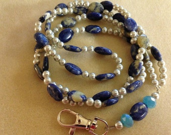 Beaded ID Lanyard ~ Blueberries & Cream