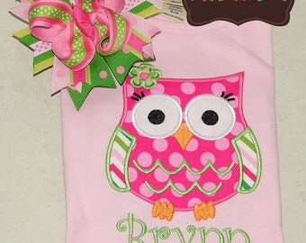 Spring Owl Applique Shirt and Matching Hairbow -  Summer - Hoot Hoot