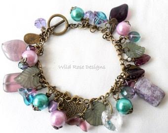Purple and Turquoise charm bracelet.