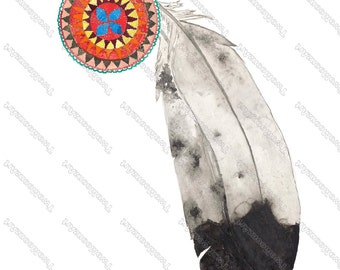 """Southwest Painting,Native American Inspired Art , Fine Art Watercolor Print, Giclee Archival Print, Feather Painting,  """"Harvest Eagle"""""""