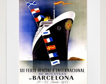 Spain Wall Art Print Barcelona Vintage Travel Poster (TR78)