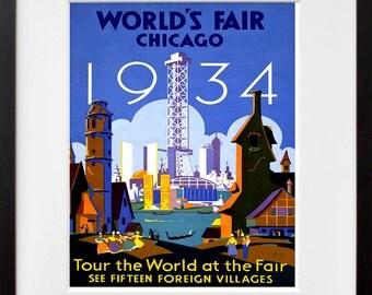 Chicago Travel Art Vintage World's Fair Poster Print (TR123)