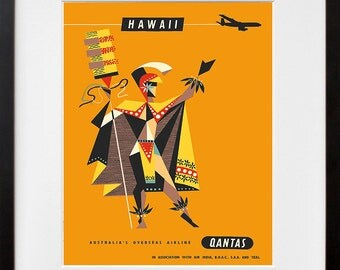 Travel Poster Hawaii Art Print Vintage Hawaiian Home Decor (TR141)