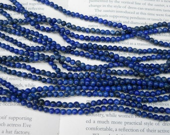"4mm Lapis Lazuli round beads, 15.5"" strand long"