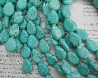 13x18mm turquoise flat tear drop beads, 15.5 inch