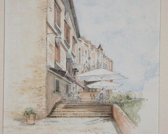 Cafe painting, Albi, France, mounted