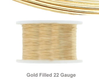 5 Feet of Gold Filled 22 Gauge Hard Round Wire