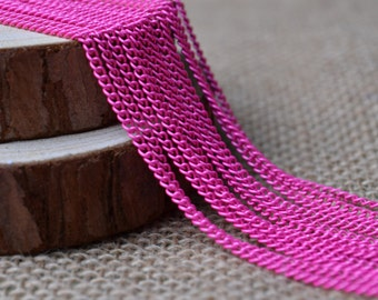 16ft of 2.7x2mm Oval Link Hot Pink Cable Chain,Iron Small Cross Chain,Small Chains,Hot Pink Twisted Chains-Unsoldered,Nickel and Lead Free