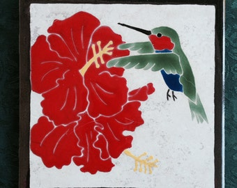 Hummingbird and Hibiscus tile trivet