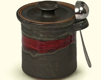 Pottery Coffee Canister - Handmade Stoneware Lidded Utensil Crock with Stainless Steel Scoop