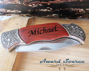 Groomsmen Gift Set of 8 Personalized Engraved Rosewood Handle Pocket Knife