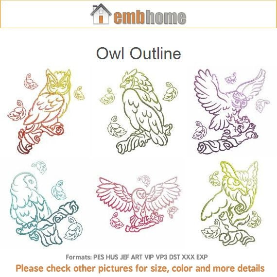 Items similar to simple owls outline machine embroidery