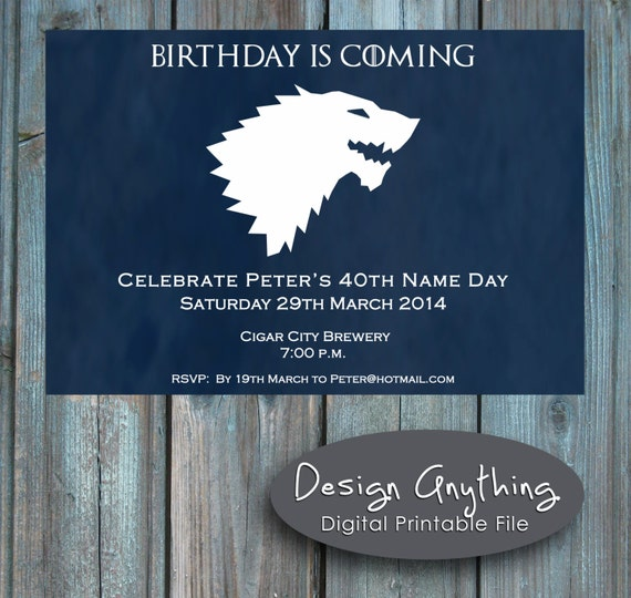 Items similar to printable game of thrones birthday party for Game of thrones birthday party