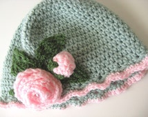 Easter Hat Little Girls Sage Spring Crochet Vintage Style Beanie Pink Rose Flowers