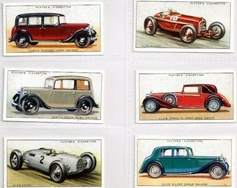 Scarce British Cigarette Card Set of 50 Cards. Motor Cars Issued in 1936 by John Player Cigarettes. Motor Cars Of The 1930s Period