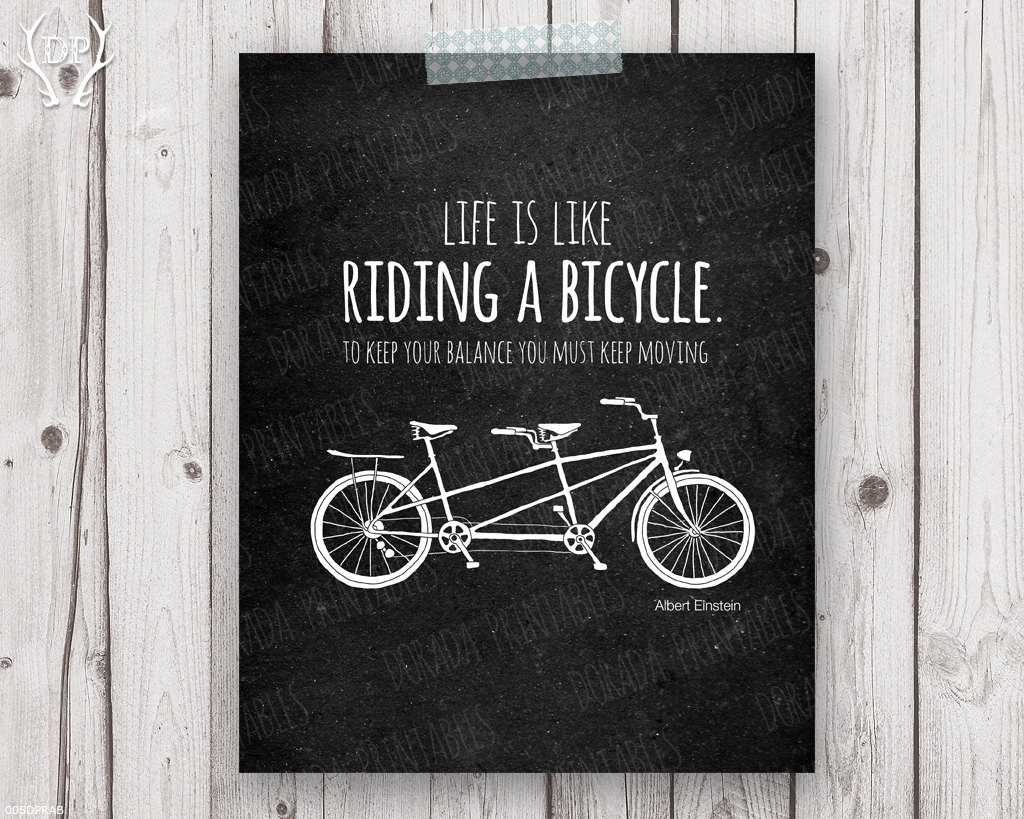 Life Is Like Riding A Bicycle Printable Quote Chalkboard Home