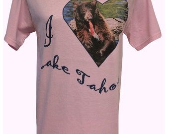 I Love Lake Tahoe T-shirt Womens Small on Pink or Blue